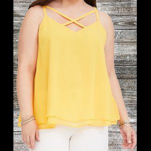 Torrid | Strappy Chiffon Swing Tank Top Yellow